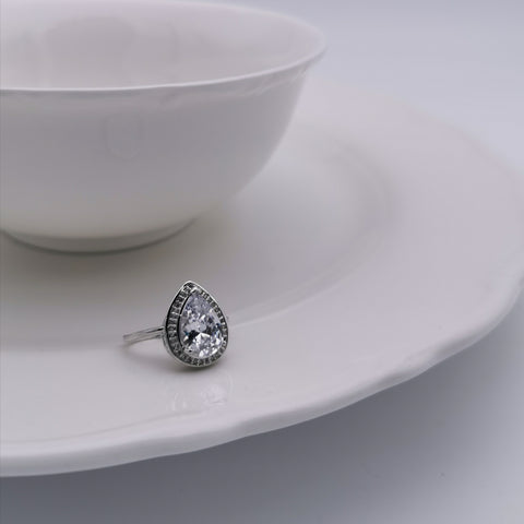 Cubic zirconia tear drop ring