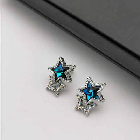Swarovski element blue stud earring