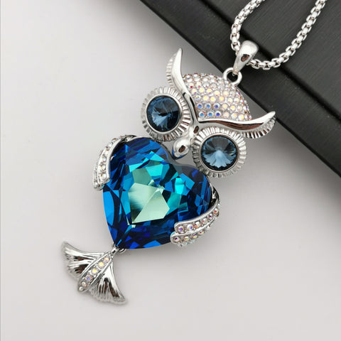 Swarovski element owl long necklace