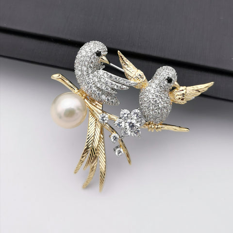 Happy birds freshwater pearl brooch/pendant