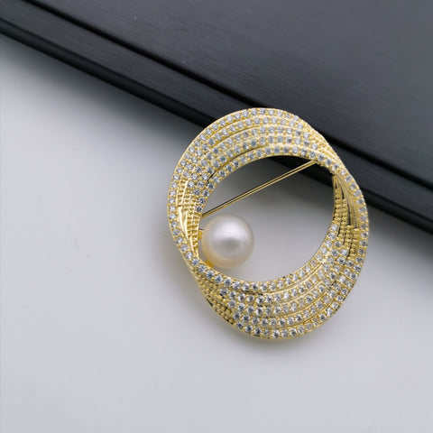 Cycle freshwater pearl brooch/pendant