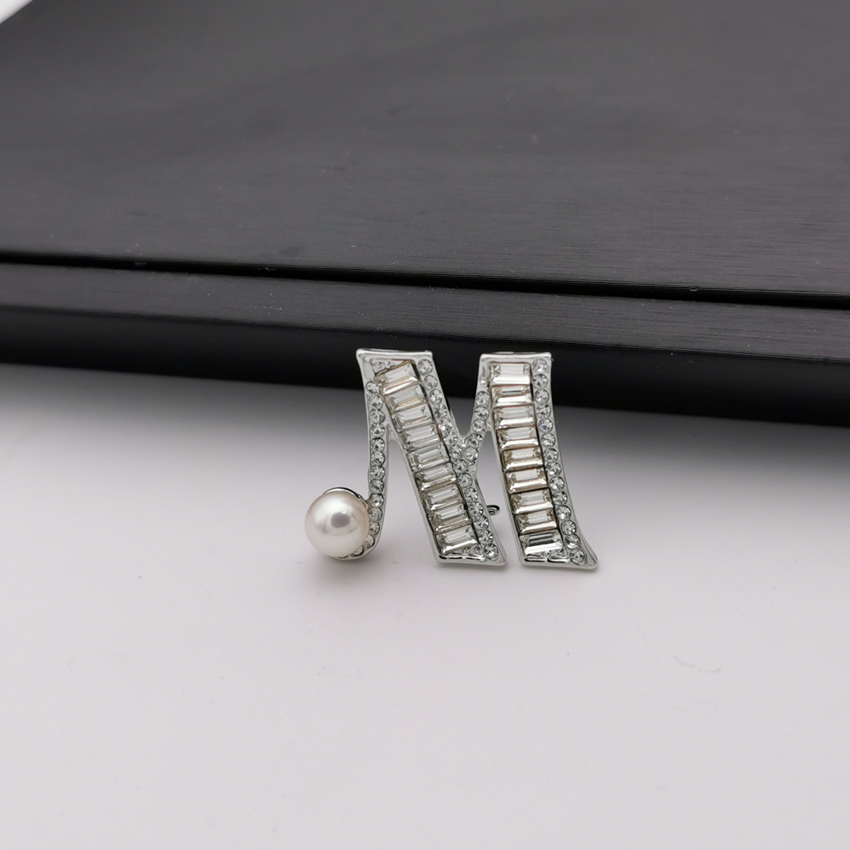 Letter M freshwater pearl brooch