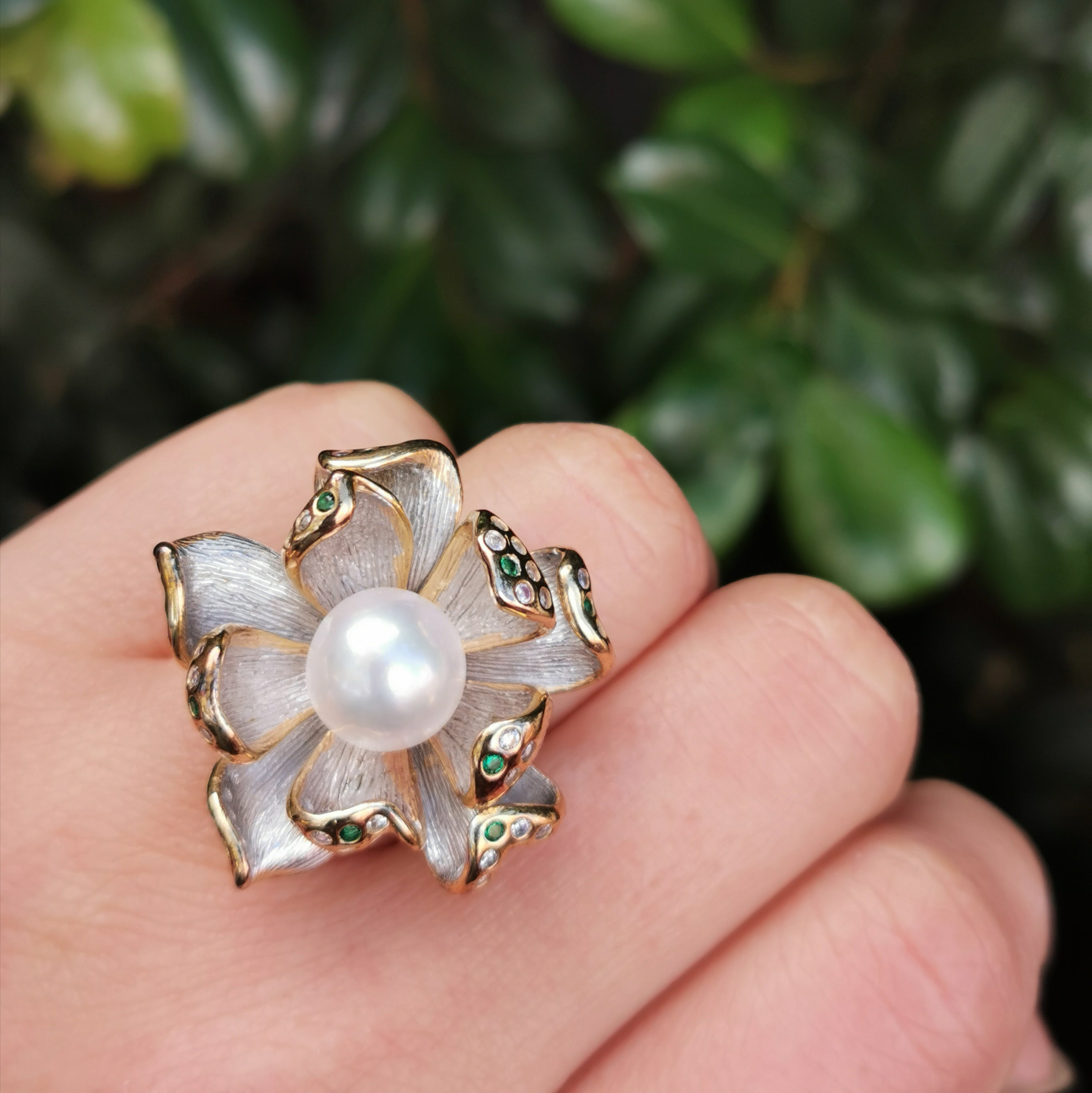 Italy sterling silver setting with freshwater pearl ring
