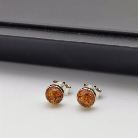 7mm Baltic Amber  stud Earring