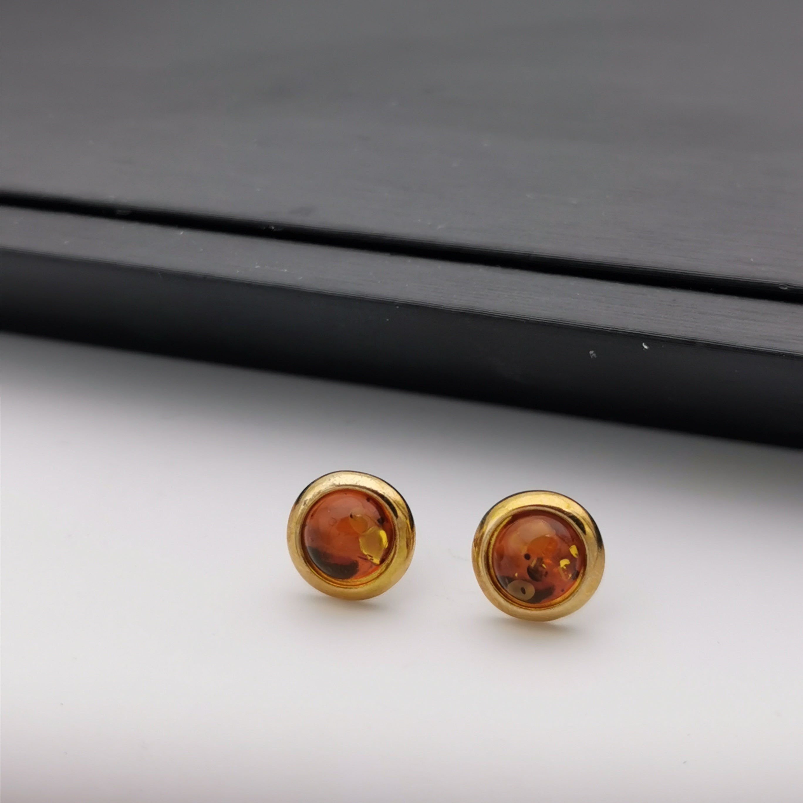 Sterling silver Baltic Amber stud earring