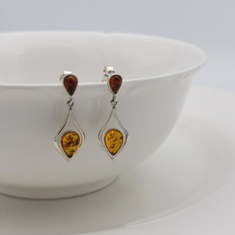 Teardrop sterling silver Baltic Amber dangling earring