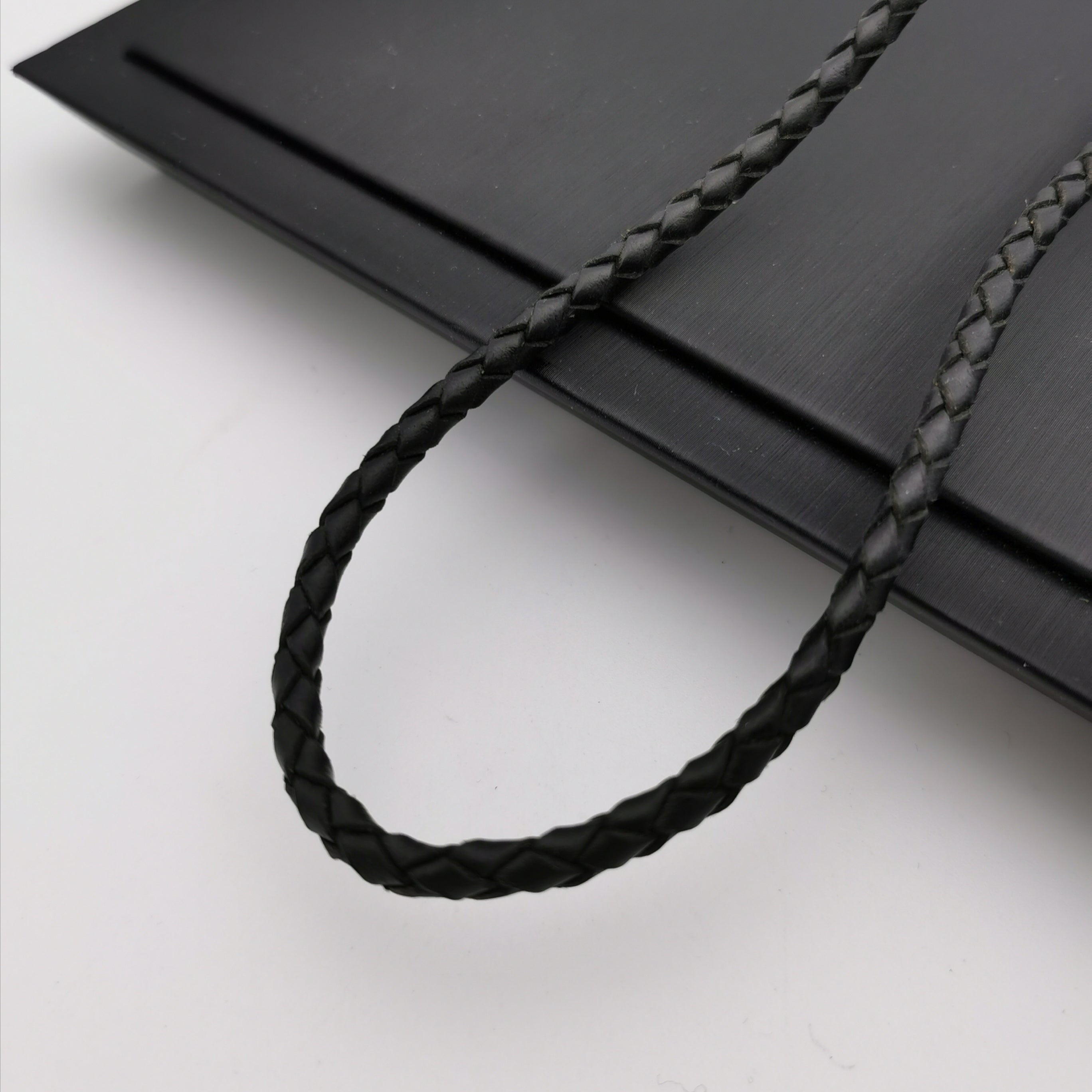 Leather with stainless steel clasp chain