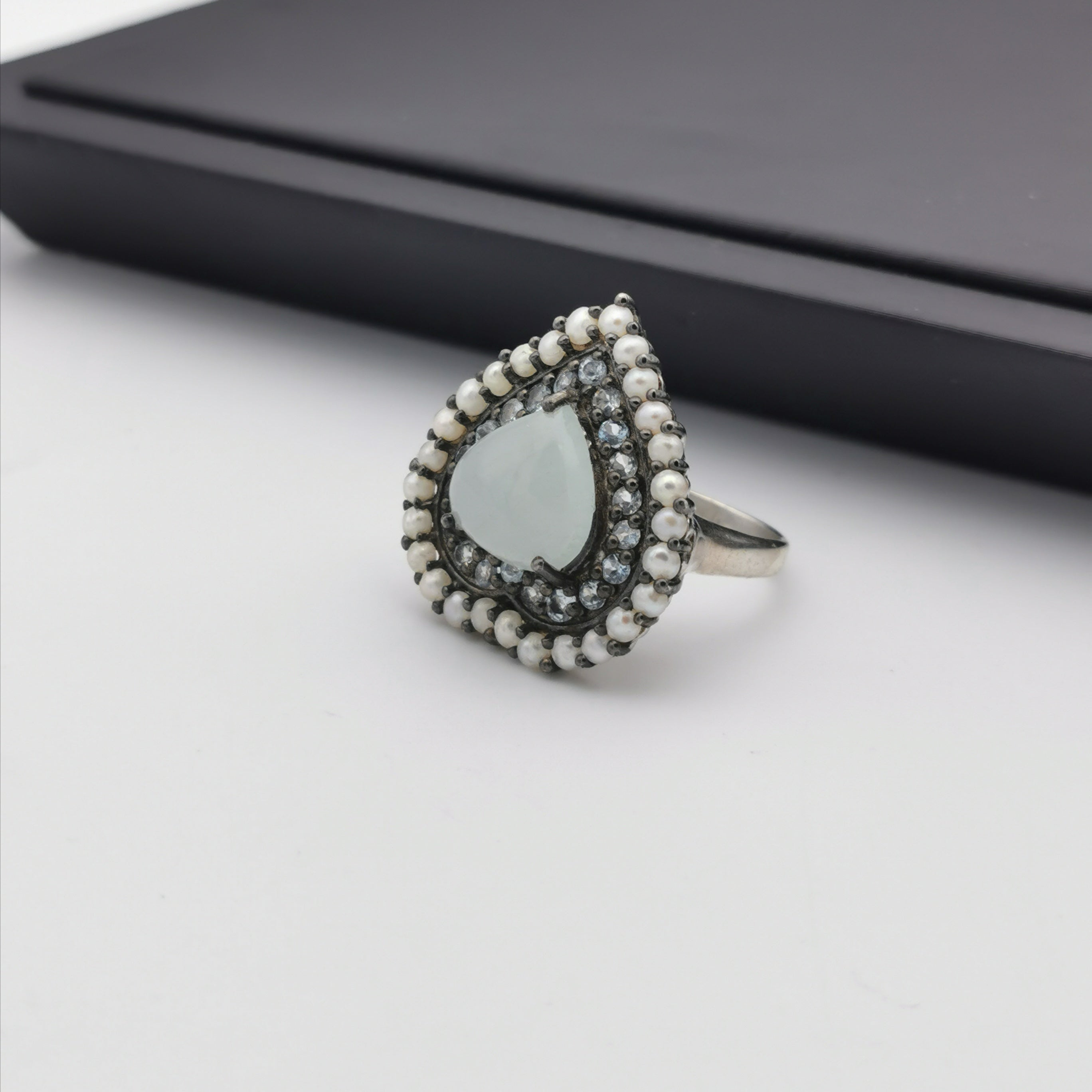 Sterling silver with freshwater pearl amd aquamarine heart ring