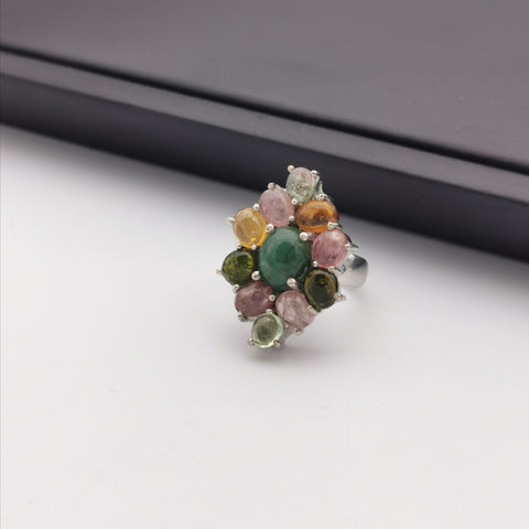 Sterling silver with tourmaline and emerld ring