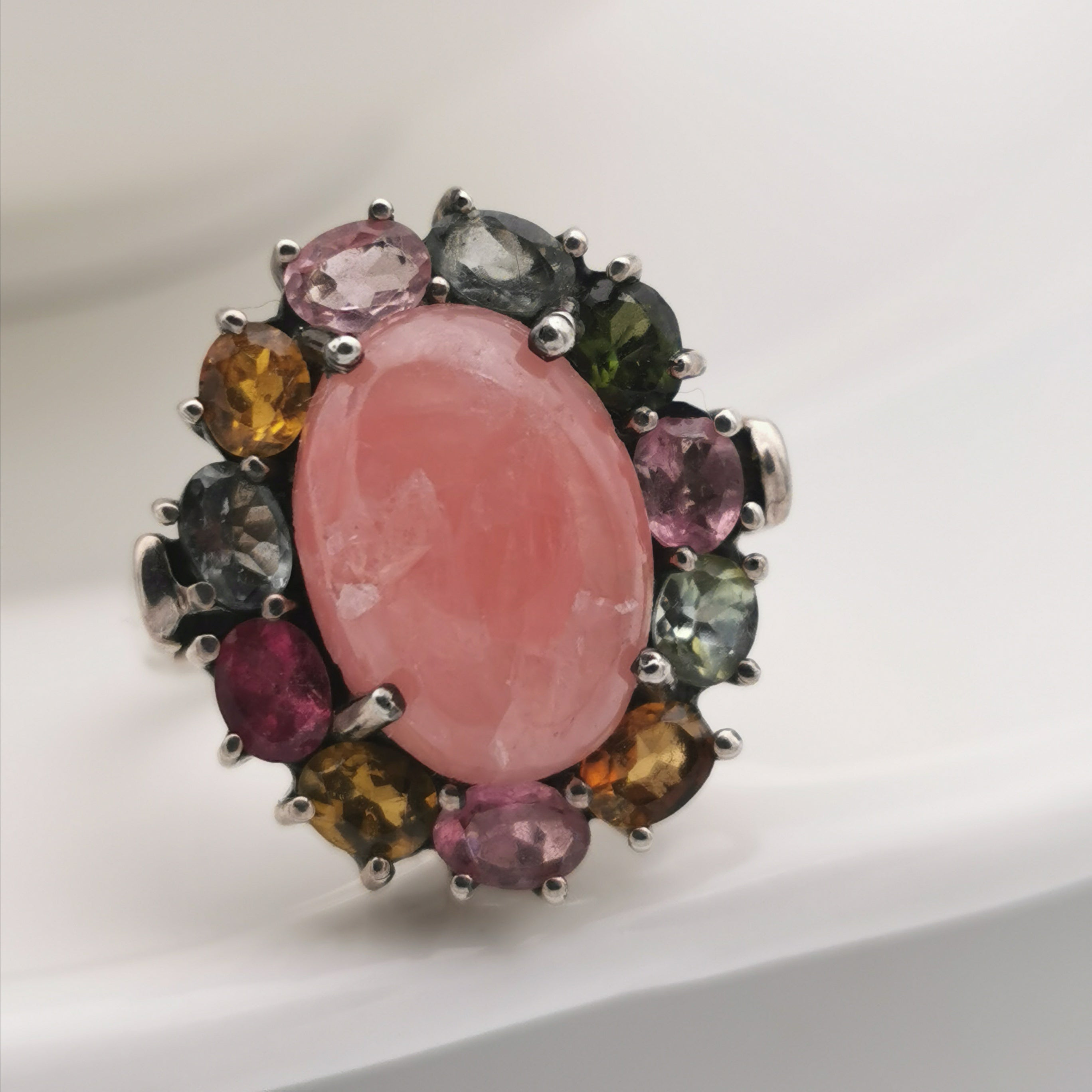 Sterling silver with rhodochrosite tourmaline ring