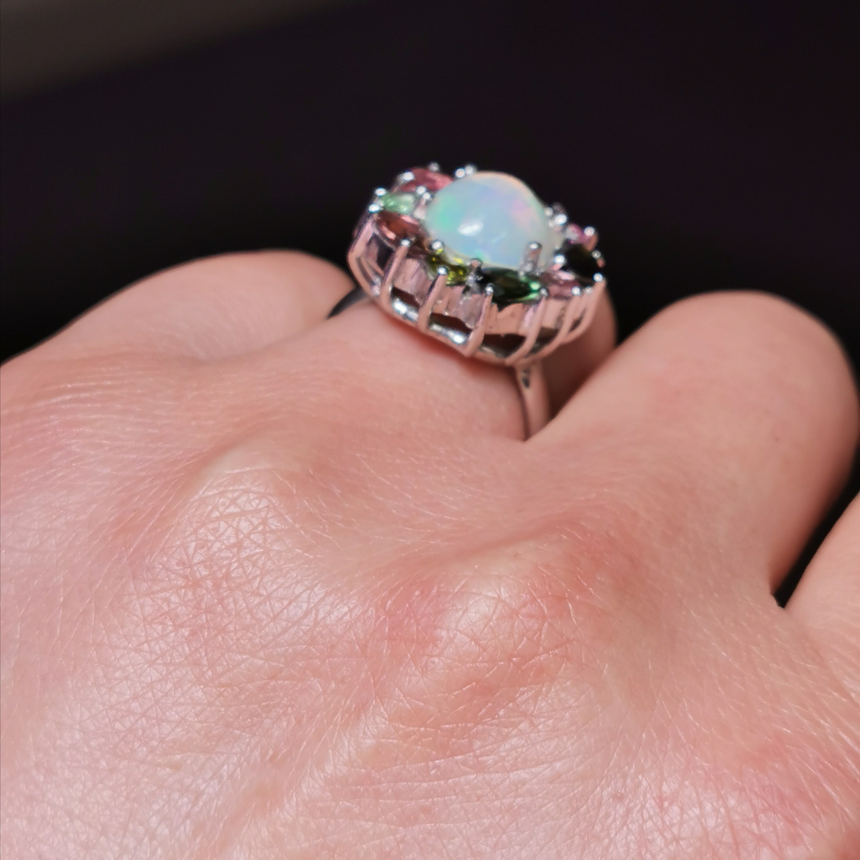 Sterling silver with Ethiopian and tourmaline ring