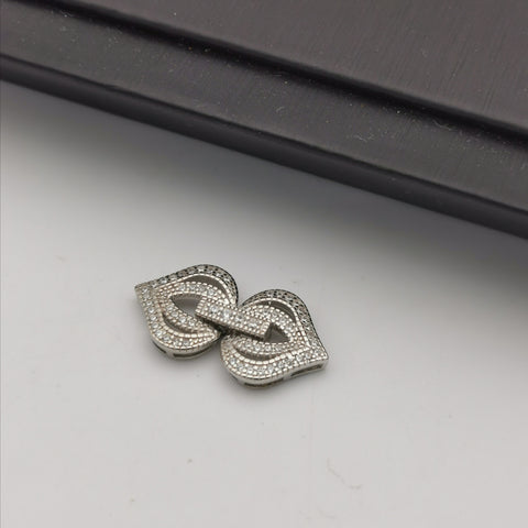 S925 sterling silver white rhodium plated vintage clasp