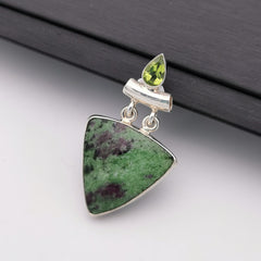 S925 Zoisite and Peridot pendant