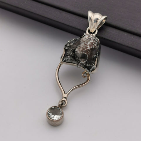 S925 meteorolite with clear quartz pendant