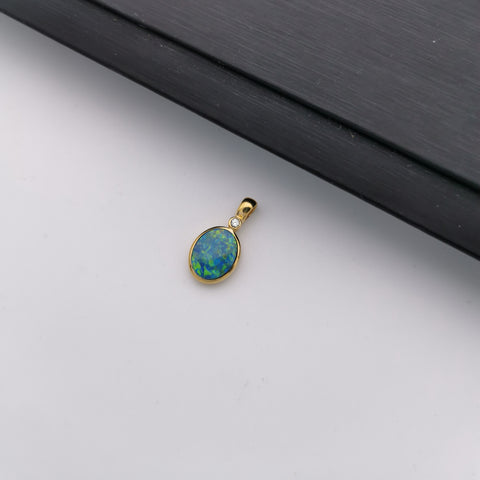 14K gold with diamond Australian black opal pendant