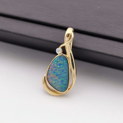 14K gold with diamond Australian opal pendant/enhancer