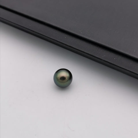 11.57 mm genuine round shape black Tahitian loose pearl