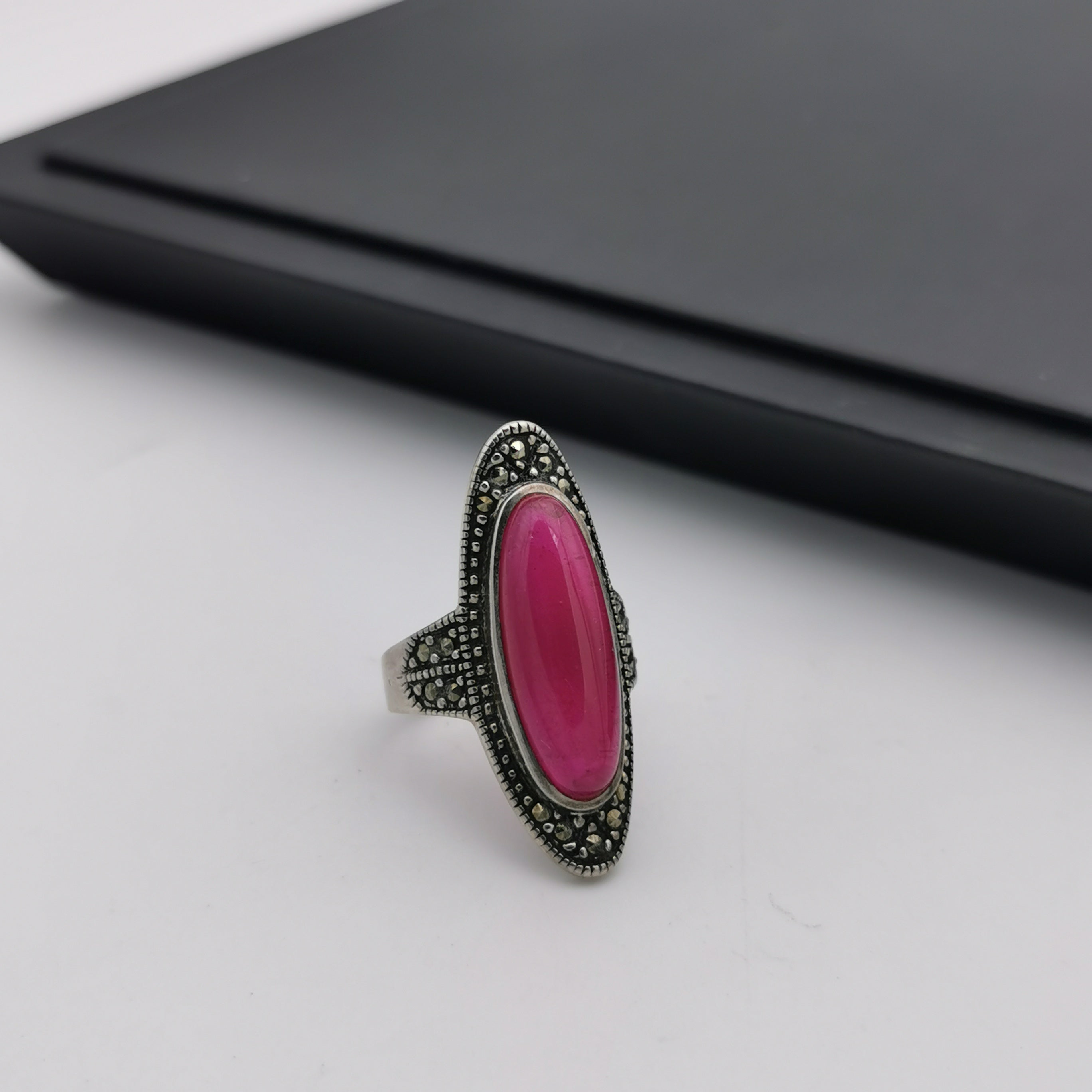 Unique Sterling silver Marcasite with created ruby ring
