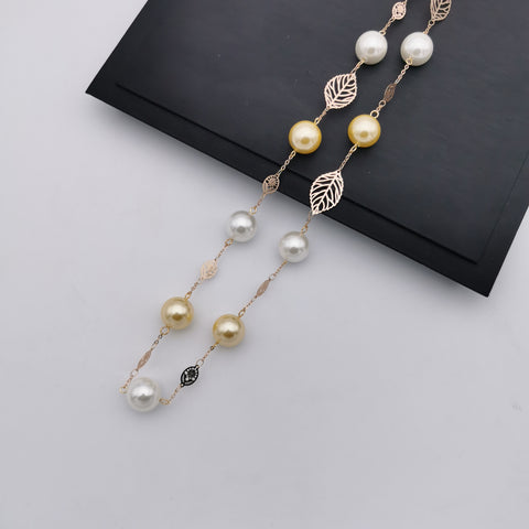 14mm sea shell pearl long necklace