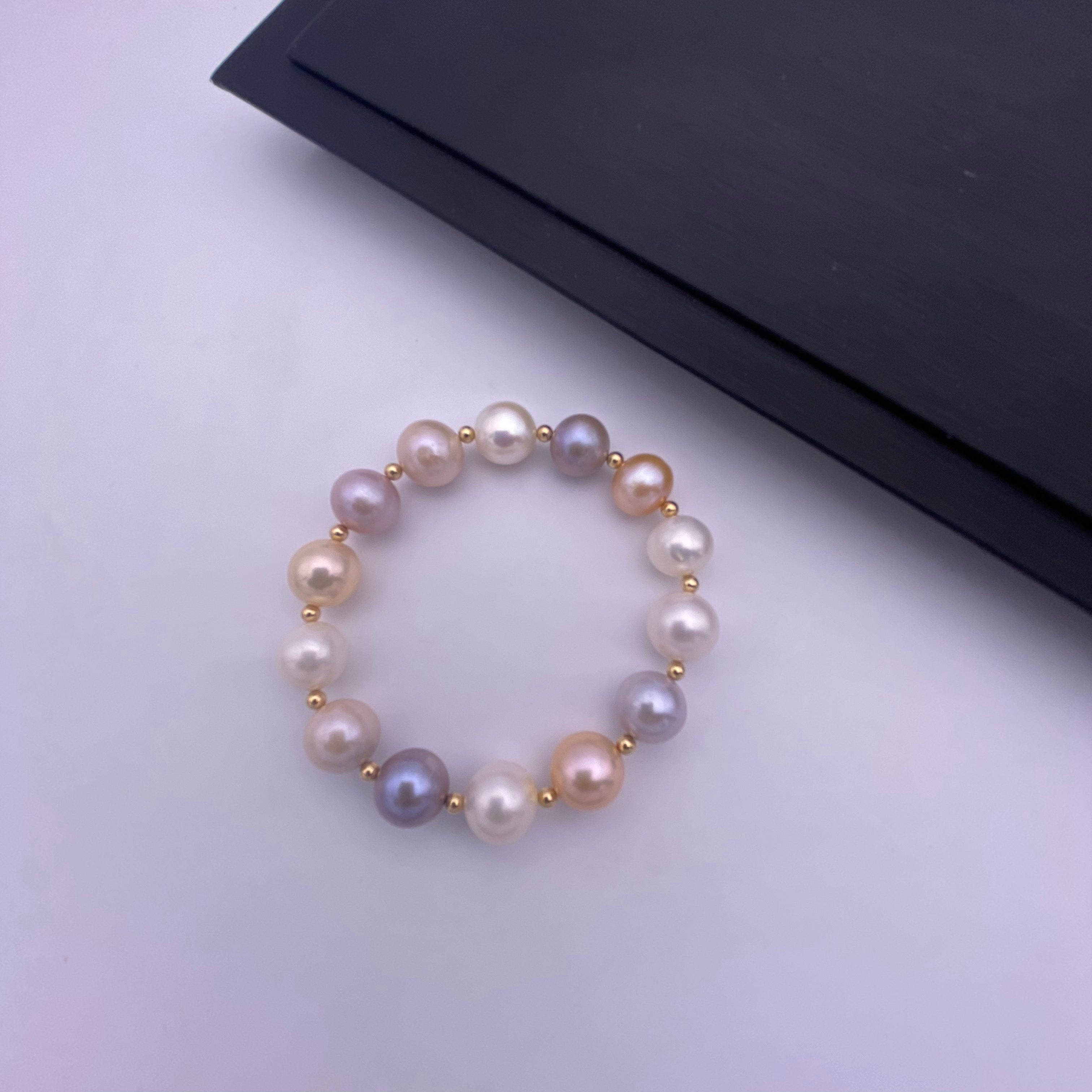 Multi colour freshwater pearl with 14k gold filled beads stretch bracelet