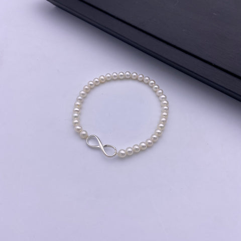 Purity infinity pearl stretch bracelet