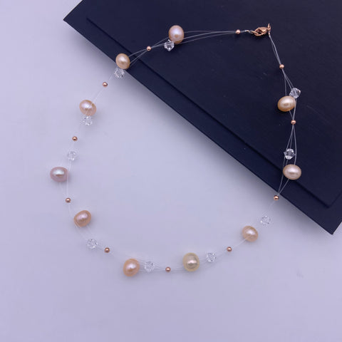 Party/anniversary invisible freshwater pearl with Swarovski necklace