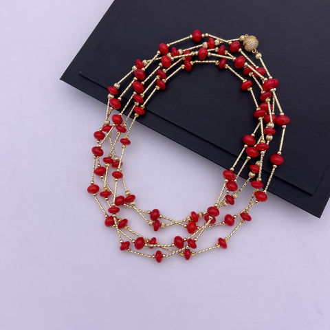 1.92 m magnet clasp coral necklace