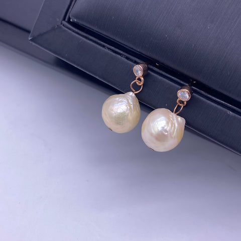 Sterling silver rose gold plated freshwater baroque pearl earrings
