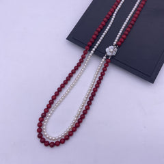 Freshwater pearl with coral long necklace