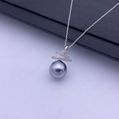 Seashell pearl sterling silver necklace