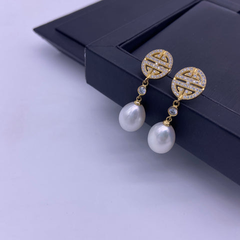 Sterling silver gold plated freshwater pearl earrings