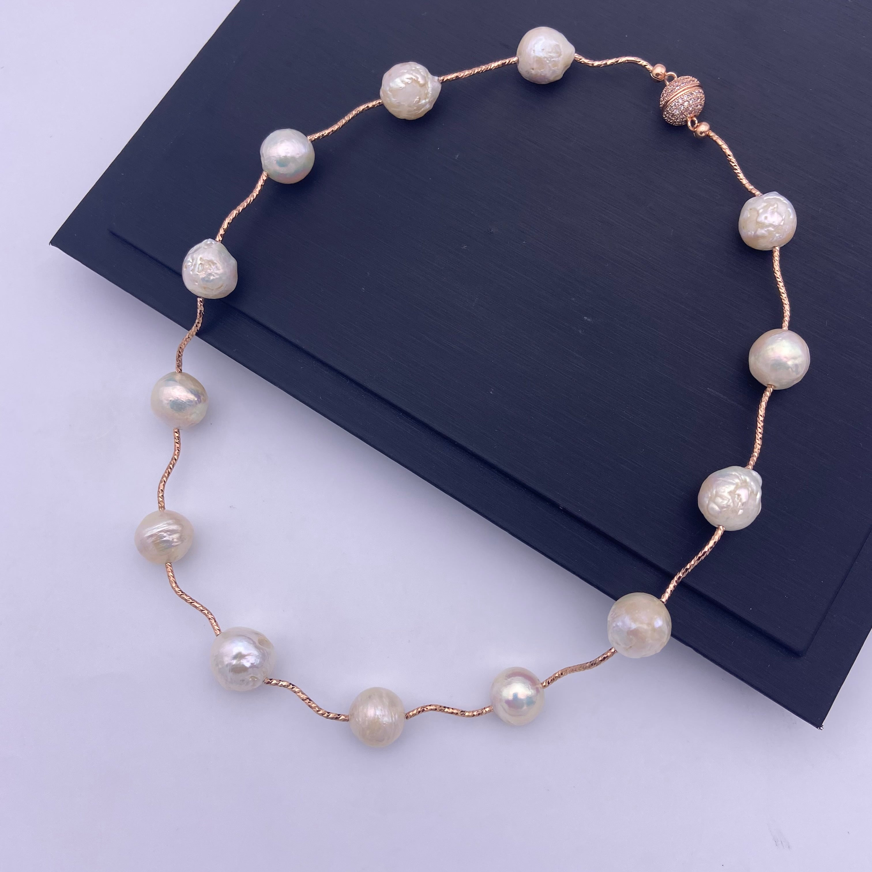 White cultured freshwater baroque pearl rose gold magnet clasp necklace