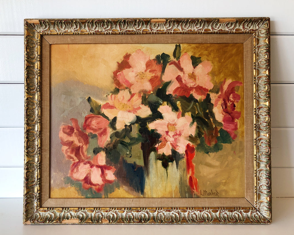 Pretty In Pink Bouquet Of Flowers Acrylic Painting Scout Miner