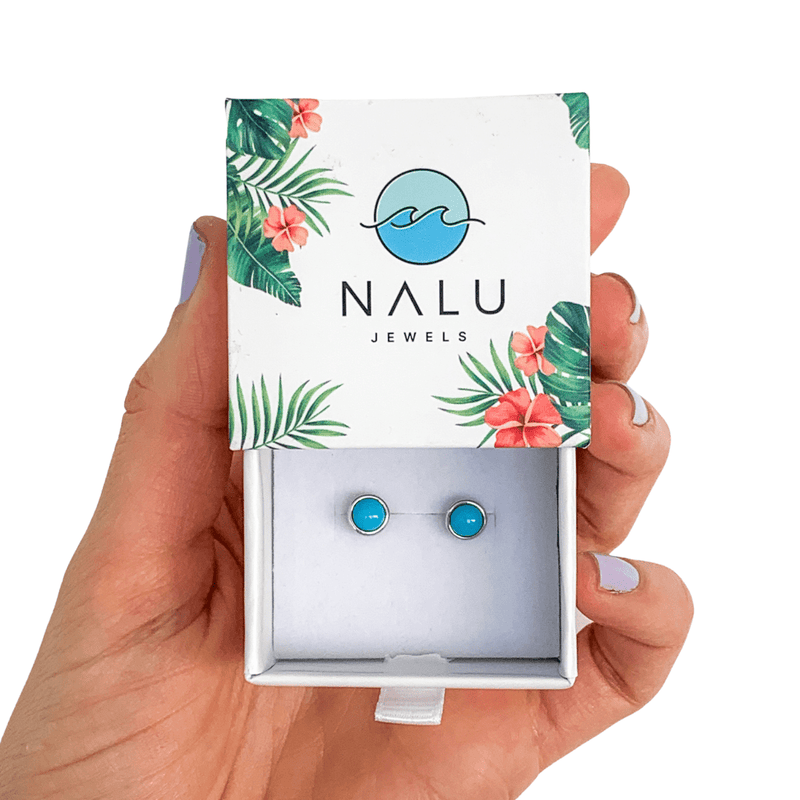 Nalu Jewels Turquoise Rock Earrings One Size Fits All
