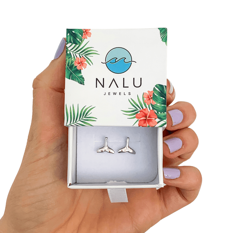 Nalu Jewels Whale Tail Earrings Silver
