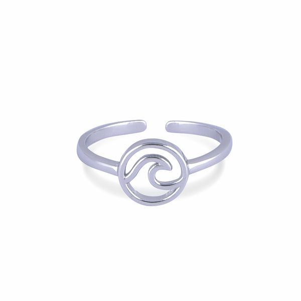 Nalu Jewels Circle Wave Ring Adjustable