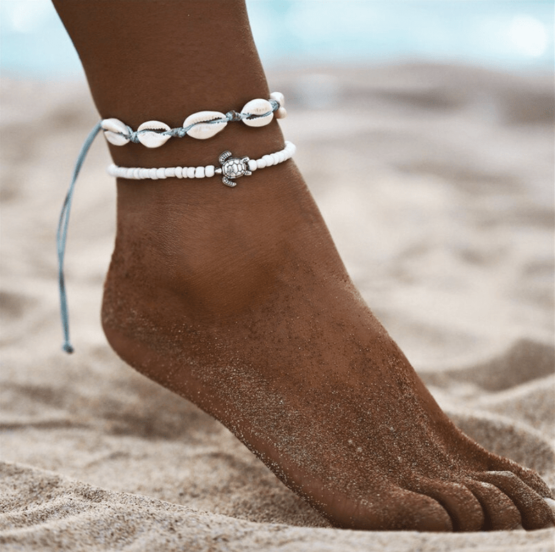 Nalu Jewels Cowrie shell & Turtle anklet Adjustable