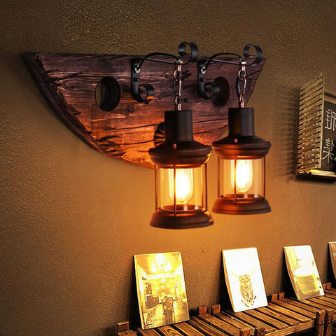 Vintage Wooden Wall Lights