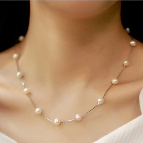 Eye-catching Delicate Women's Fashion Charm Jewelry Pendant Chain Faux Pearl Choker Short Clavicle Necklace  GIL
