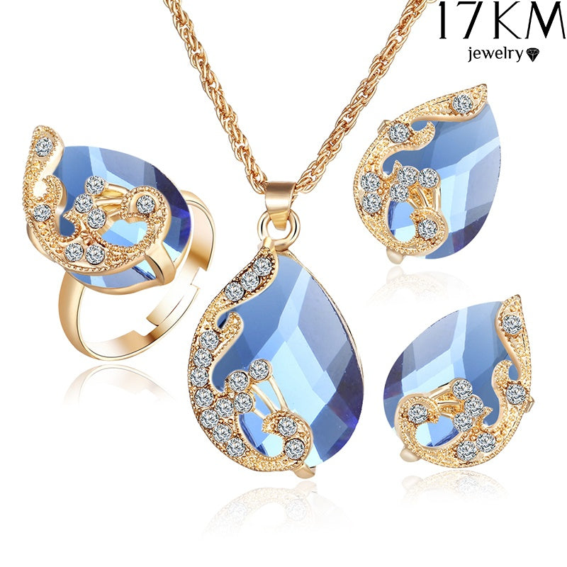 Noble Crystal Wing Water Droplets Necklace Earring Ring Set Popular Fashion Elegant Beautiful Pendant Necklaces Earrings Jewelry Accessories 3Pcs/set