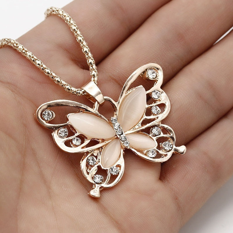 2017 New  Rose Gold Opal Butterfly Pendant Necklace Sweater Chain Long Necklace For Women Girls Jewelry(Color: Rose gold)