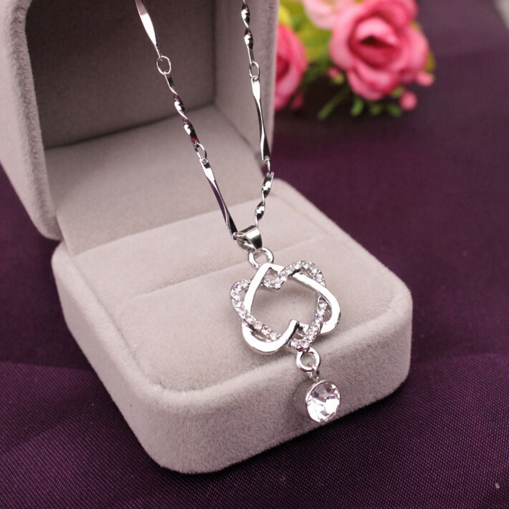 Chic Fashion Women 925 Sterling Silver Double Heart Pendant Necklace Chain Jewelry