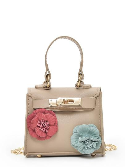 Flower decorated  Chained Bag