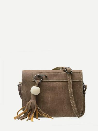 Tassel Faux Leather Cross body Bag