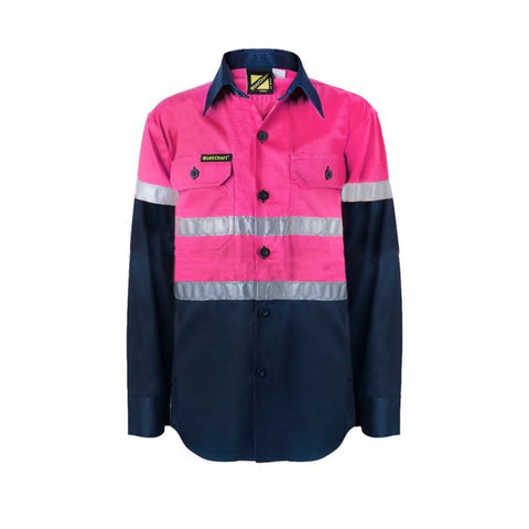 WORK CRAFT WSK129 KIDS HI VIS Drill Shirt - Pink/Navy - redz WORKWEAR
