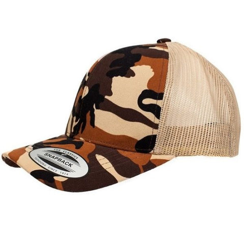 FLEXFIT 6606T  RETRO TRUCKER CAMO - REDZ WORKWEAR