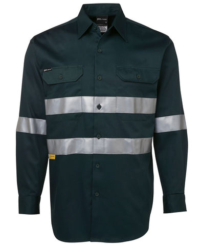 JB'S 6HDNL HIVIS TAPED L/S GREEN - REDZ WORKWEAR + TOOLS NORTH LAKES