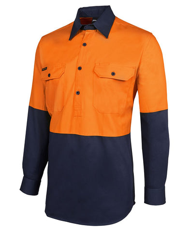 JB 6HVCF HiVis Closed Front Long Sleeve shirt - REDZ