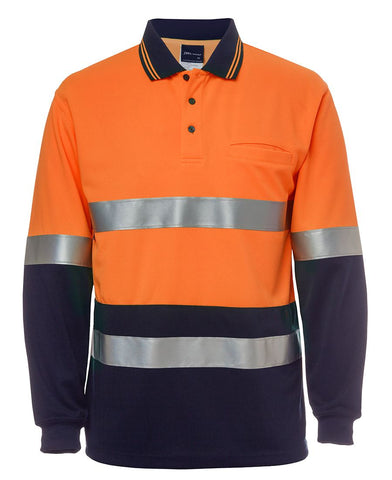 JB 6HVSL HI VIS L/S (D+N) TRADITIONAL POLO - ORANGE