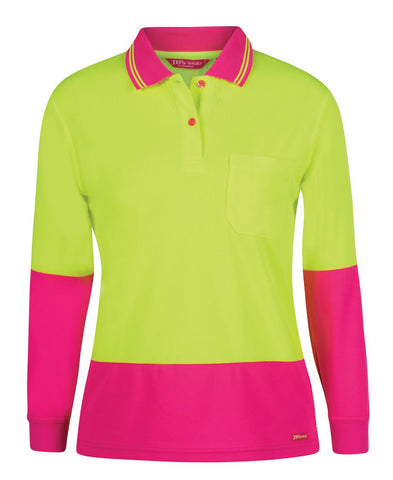 JB 6LHCL HIVIS LADIES POLO L/S - REDZ WORKWEAR + TOOLS NORTH LAKES
